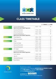 APC Fermoy & Cork Class TimeTable